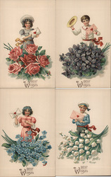 Set of 4: Children with Letters, Envelopes Flowers Postcard