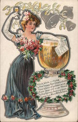 Klink Klink rhyme - to the Happy New Years Chime - You glass of Golden Wine Postcard
