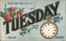 Please Be At ___ Tuesday at ___ Sharp, From ___ - Invitation with Flowers Postcard