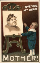 I love you, my dear Mother! (Child stands by easel with painting) Postcard