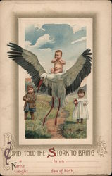 Cupid told the Stork To bring ... (baby announcement) Postcard