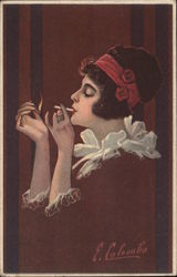 Fade-Away: Woman dressed in red, lighting a cigarette. Postcard