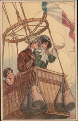 Man and woman, and child in a hot air balloon among the clouds Postcard