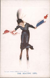 The Skating Girl - Girl holding two flags Postcard