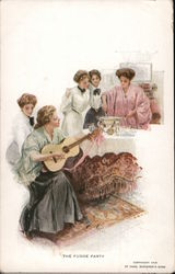 The Fudge Party - Women in Fine Clothing Gather Around Table as One Strums Guitar Postcard