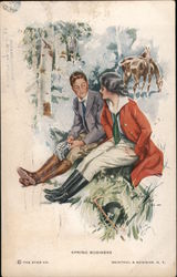 """Spring Business"" - Man and woman in riding clothes sit on a log; their horses eat nearby Postcard"