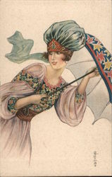Deco Woman with Parasol, Fancy Hat, and Floral Dress Postcard