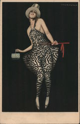 Lady with silver top hat, in black and silver dress, carrying a small box Postcard