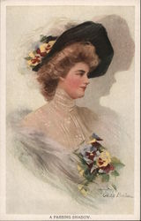 Woman Dressed Up With Hat and Flowers