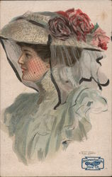 Lady with a fancy hat with roses and netting - Friedman-Shelby Shoe Co., St. Louis, U.S.A.