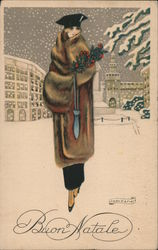 Buon Natale (Merry Christmas) - Lady in fur coat carries holly branch, walking in snow Postcard