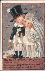May the Near Year Be a Happy One - Two Children Dressed as a Bride and a Groom Postcard