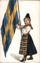 Girl with Swedish Flag and Native Costume