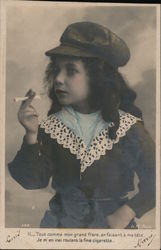 Little Girl With Cap Holds Cigarette In Fingers Postcard