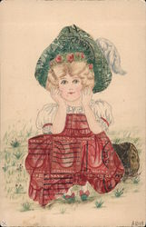 Drawing of Girl with Clothing Made of Stamps Postcard