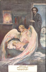 Child lies in bed, with an angel-lady nearby and a dark-clothed man looking in Postcard