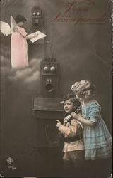 """Vesele boxicne praznike"" - Children making a phone call, angel on the other end of the phonecall Postcard"