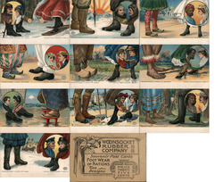 Set of 10: Woonsocket Rubber Co. Footwear of Nations Postcards Postcard