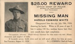 Missing Man - Harold Edward White Postcard