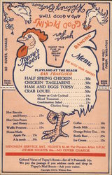 Topsy's Roost Playland at the Beach Novelty Menu Postcard