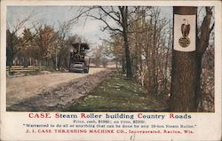 Case Steam Roller building country roads - J.I. Case Threshing Machine Co. Postcard