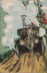 Mercury Running in Front of a Model T Postcard