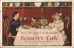 "Bennert's Cafe ""There ain't agoin to be no leavins"" Postcard"