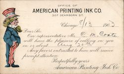 Office of American Printing Ink Co. 307 Dearborn St. Dear sir - Our representative will have the pleasure of calling on you ... Postcard