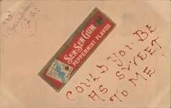 Sen Sen Gum Wrapper - Peppermint Flavor - Could you be as sweet to me Postcard
