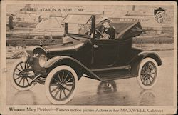 "A ""Reel"" Star in a Real Car-Winsome Mary Pickford famous motion picture actress in her Maxwell Cabriolet Postcard"