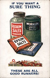 Rushem Salts, Workum Liver Salts, Epsom Salts Postcard