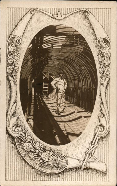 Man surrounded by rebar in tunnel Vignettes
