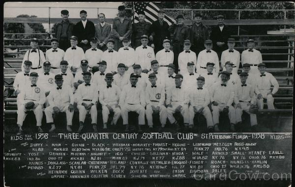 Three-Quarter Century Softball Club - 1958 St. Petersburg Florida
