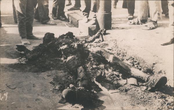Charred Body in the Street - Mexican Revolution Veracruz Mexico