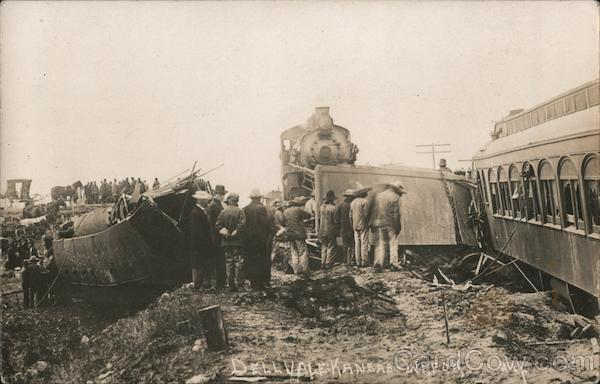 Train Hits Washout, September 1910 Dellvale Kansas