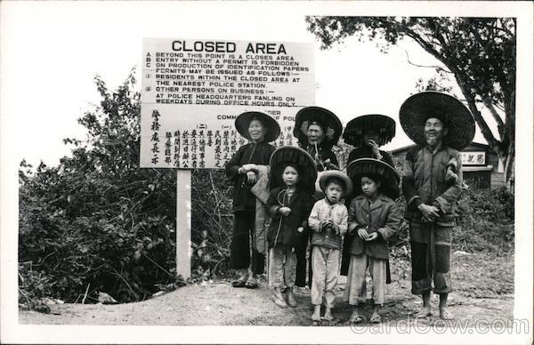 Family at New Territories of Hong Kong Closed Area sign
