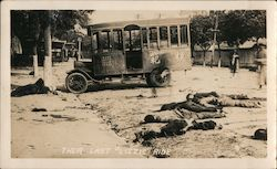 "1927 Their Last ""Lizzie"" Ride - Executed communists lying in the street near a vehicle, Canton Original Photograph"