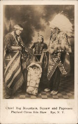 Chief Big Mountain, Squaw and Papooses Playland Circus Sideshow Postcard