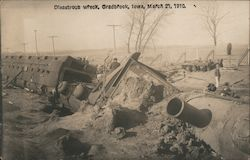 Disastrous Train Wreck, March 21, 1910 Postcard