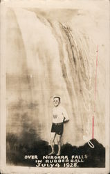Jean Lussier Over Niagara Falls in Rubber Ball July 4, 1928 Postcard