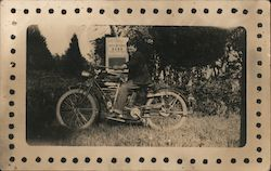 Young Man on Early Indian Motorcycle Postcard