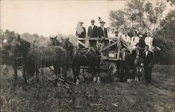 """Uncle Bill Going to Town"" People in Wagon Pulled by Horses, Labor Day Postcard"