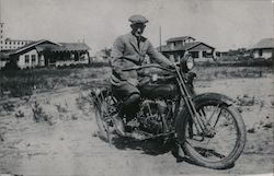Man on a Motorcycle (1960's Reprint) Postcard