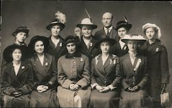 Woman's Club?  Group of ladies with Hats Postcard