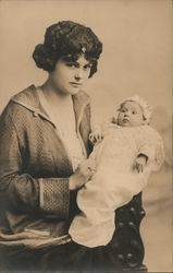 Woman holding a baby: Betty Charlene Nimitz - age 7 weeks - Jan 18, 1925