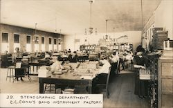 C. G. Conn's Band Instrument Factory - Stenographic Department Postcard