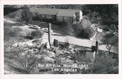 House Damaged from Bel Air Fire - Nov. 28, 1961