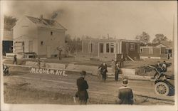 Damage from tornado on June 6, 1917 to homes on Meachem Ave. Postcard