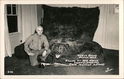 World record brown bear killed by Bob Reeve owner-operator Reeve Aleutian Airways Postcard
