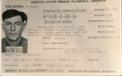 Escaped! Amador Anchondo - Arizona State Prison Postcard